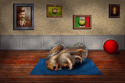Animal - Squirrel - And Stretch Two Three Four Art Print by Mike Savad