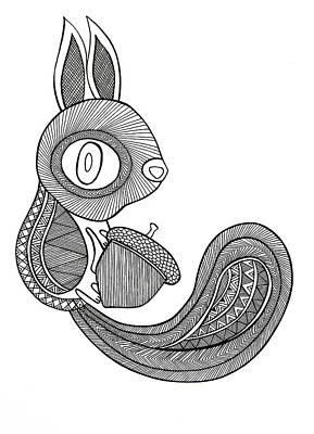 Squirrel Drawing - Animal Squirrel by Neeti Goswami