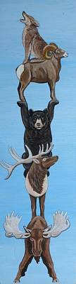 Ski Lodge Decor Painting - Animal Totem 2 by Lucy Deane