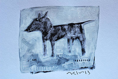 Gouache Abstract Painting - Animalia  Canis No 2 by Mark M  Mellon