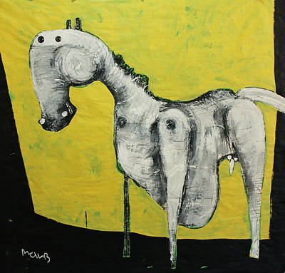 Primitive Art Painting - Animalia  Equos No 2 by Mark M  Mellon