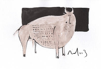 Primitive Art Drawing - Animalia Taurus No. 7  by Mark M  Mellon