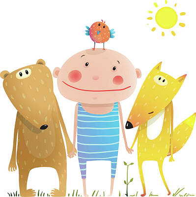 Digital Art - Animals And Child Friends Fox Bear Bird by Popmarleo