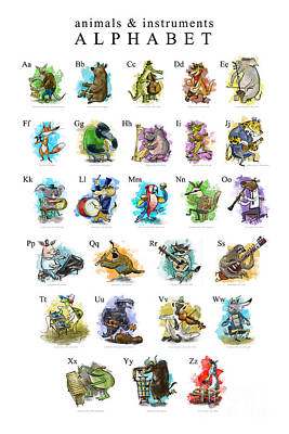 Iguana Painting - Animals And Instruments Alphabet by Sean Hagan