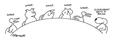 Drawing - Animals Are Seen Sitting Around A Conference by Charles Barsotti