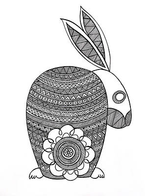 Intricate Drawing - Animals Bunny by Neeti Goswami