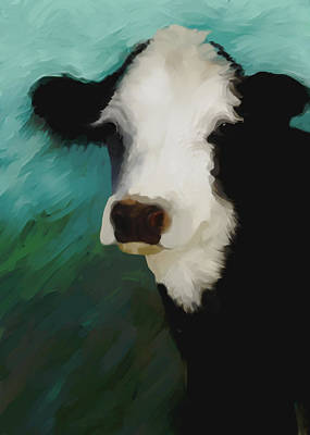 Painting - animals - cows Black and White Cow by Ann Powell