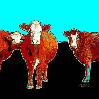 Photograph - animals - cows - Pop Art Cows on Turquoise by Ann Powell