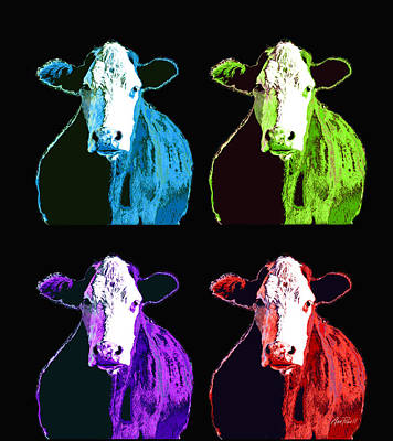 Photograph - animals - cows- Pop Art Four  by Ann Powell