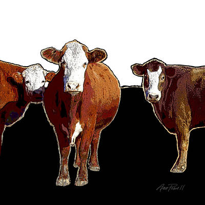 Photograph - Animals Cows Pop Art Three  by Ann Powell