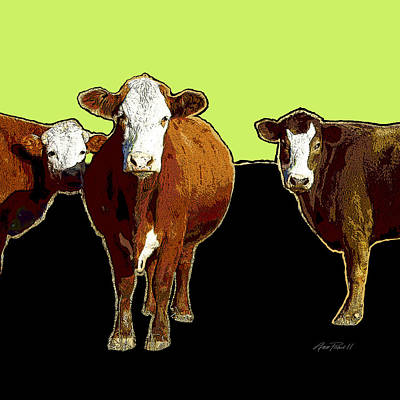 Digital Art - animals - cows - Pop Art Three on Green by Ann Powell