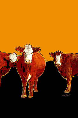 Digital Art - animals -cows Three Pop Art with Orange by Ann Powell