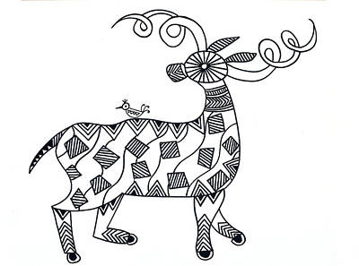 Animals Deer Print by Neeti Goswami