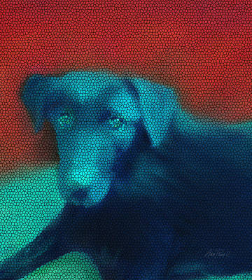 Digital Art - animals - dogs -Red and Blue by Ann Powell