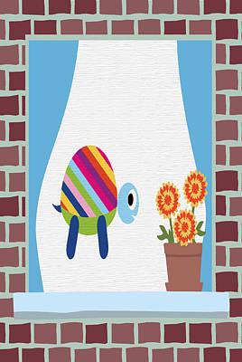 Brick Buildings Digital Art - Animals In The Window 2 by Angelina Vick