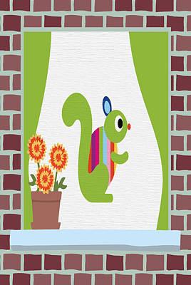 Brick Buildings Digital Art - Animals In The Window 3 by Angelina Vick