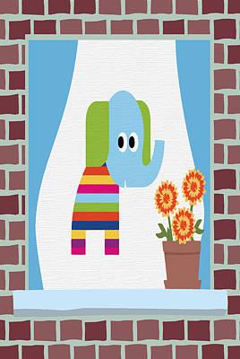 Brick Buildings Digital Art - Animals In The Window 8 by Angelina Vick