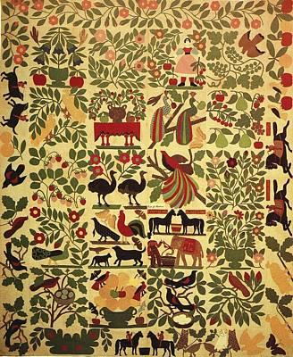 Animals On Applique Art Print by Artist Unknown
