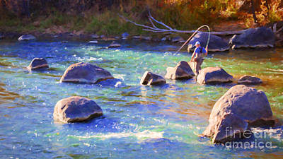 Colorado Fly Fishing River Wall Art - Painting - Animas River Fly Fishing by Janice Pariza