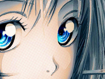 Comics Royalty-Free and Rights-Managed Images - Anime Girl Eyes 2 Gold by Tony Rubino