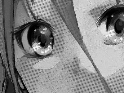 Comics Royalty-Free and Rights-Managed Images - Anime Girl Eyes Black And White by Tony Rubino