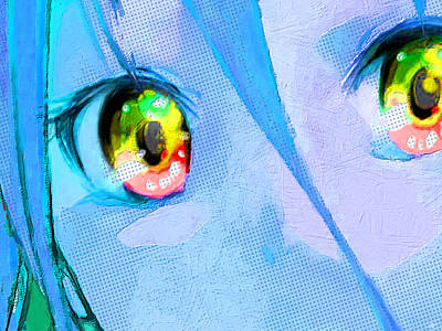 Painting - Anime Girl Eyes Blue by Tony Rubino