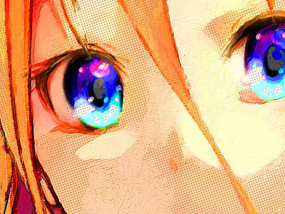 Painting - Anime Girl Eyes Gold by Tony Rubino