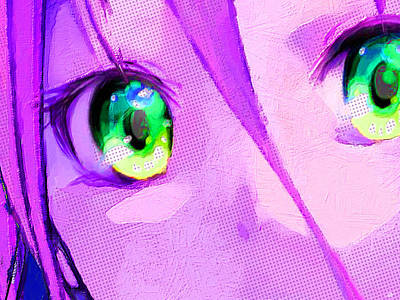 Painting - Anime Girl Eyes Pink by Tony Rubino