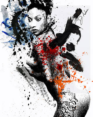 Indian Ink Mixed Media - Anindita Is Paula Michelle by Duprel Antwone