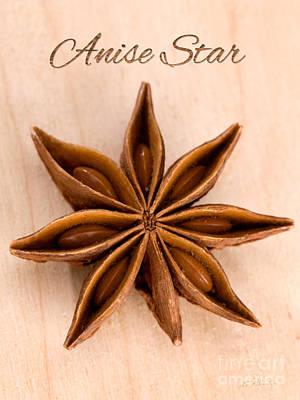 Aniseed Photograph - Anise Star Illicuim Verum Single Text by Iris Richardson