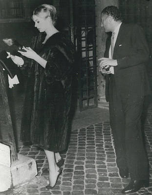 Archives Photograph - Anita Ekberg Escorted By Mr. Agnelli Of The Fiat Company - At Night Out In Rome. by Retro Images Archive