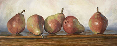 Painting - Anjou Red Pears by Lucie Bilodeau