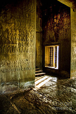 Photograph - Ankorwat Temple Window by Rick Bragan