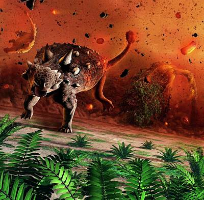 Impact Photograph - Ankylosaurs Caught In Blast Wave by Mark Garlick