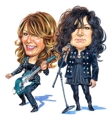 Rock And Roll Paintings - Ann and Nancy Wilson of Heart by Art