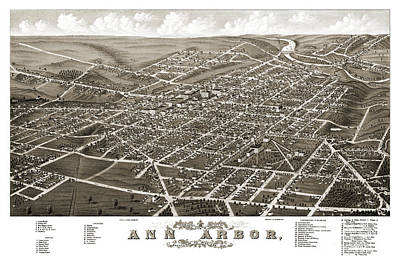 Old Map Painting - Ann Arbor - Michigan - 1880 by Pablo Romero