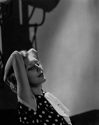 Photograph - Ann Dvorak With Her Arms Raised Behind Her Head by William Bolin