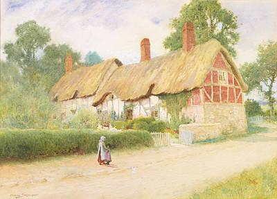 Tudor Painting - Ann Hathaway's Cottage by Arthur Claude Strachan