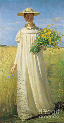 Steampunk Paintings - Anna Ancher returning from the field by Celestial Images