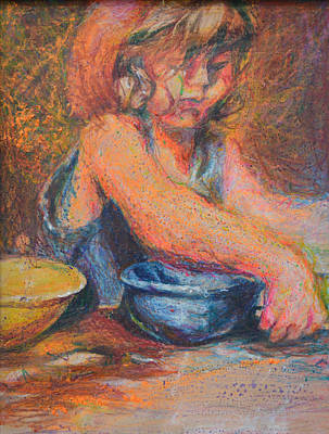 Anna And Mixing Bowls Art Print by Nancy Mauerman