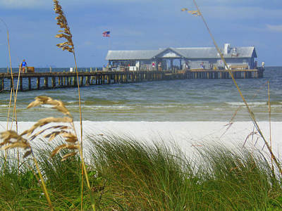 Painting - Anna Maria Island Pier With Sea Oats by Lou Ann Bagnall