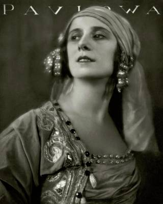 Fashion Photograph - Anna Pavlova Wearing An Ornate Dress by Eugene Hutchinson