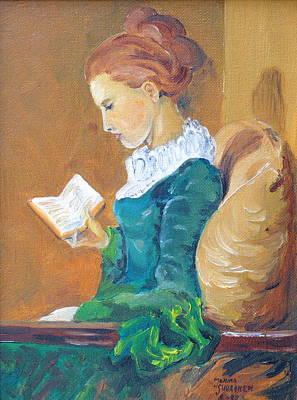 Anna Reading Art Print by Janina  Suuronen