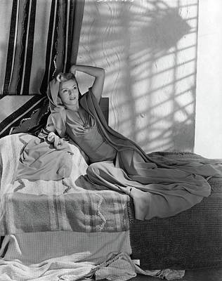 Photograph - Annabella Reclining In A Crepe Dress by Horst P. Horst