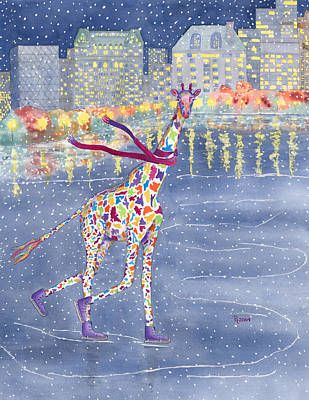 Giraffe Wall Art - Painting - Annabelle On Ice by Rhonda Leonard