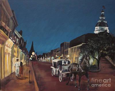 Annapolis At Night Mangias Art Print