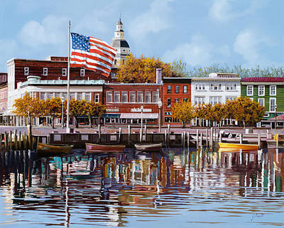 American Flag Painting - Annapolis by Guido Borelli
