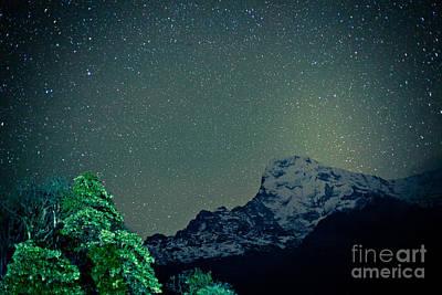 Tibet Photograph - Annapurna At Night Sky In Himalayas Mountain Nepal 2014 Artmif.lv by Raimond Klavins