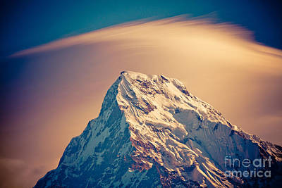 Annapurna South At Sunrise In Himalayas Artmif Photo Raimond Klavins Art Print by Raimond Klavins