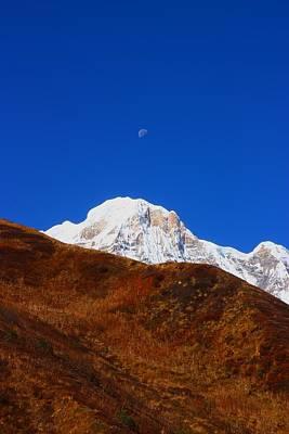 Himalayan Wall Art - Photograph - Annapurna South Moon Rise by FireFlux Studios